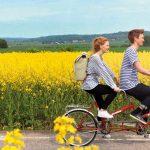 kaksi ihmistä ajaa tandempolkupyörällä pellon reunalla